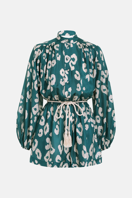 Zimmermann Shelly Billow Playsuit - Teal