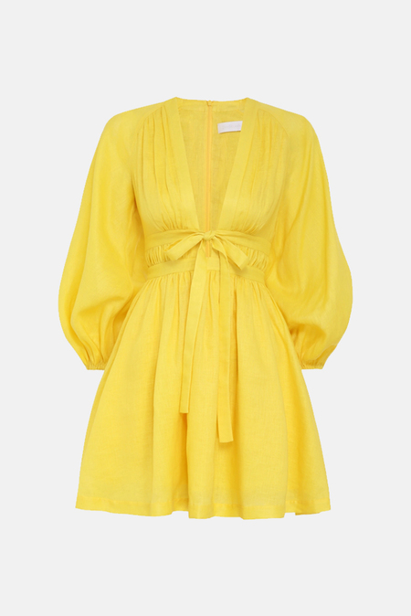 Zimmermann Shelly Plunge Bow Mini Dress - Yellow