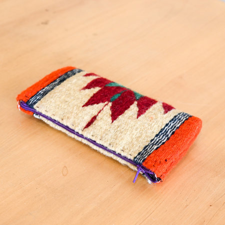 Made Solid Handwoven Mexican Zipper Case bag - Multi