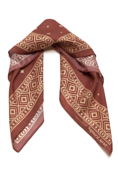 Squar'd Away The Stone Fox Scarf, burnt orange