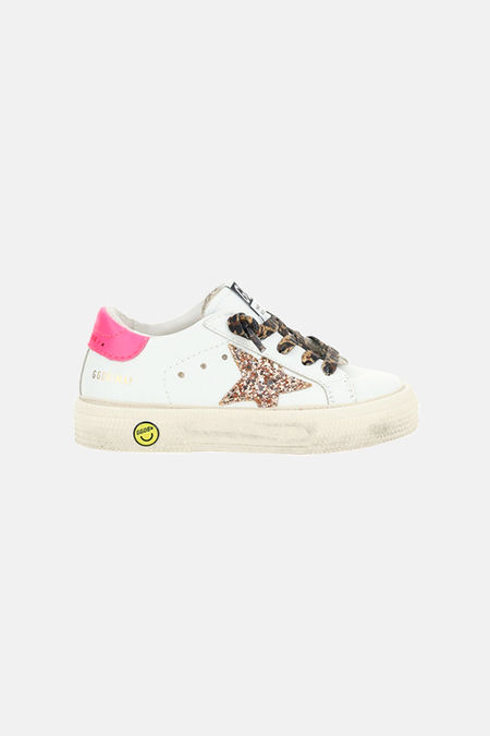 kids Golden Goose May Shoes - White/Peach/Pink