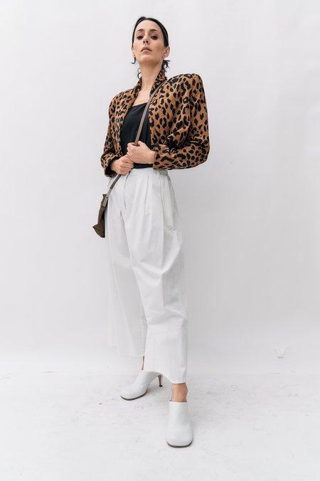 Pre-loved Cropped Shoulder Pads Jacket - Leopard