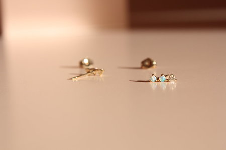 Wwake Diamond & Opal Three-Step Studs
