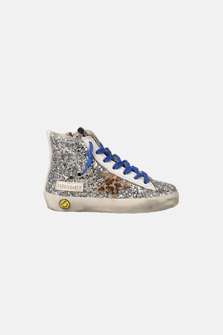 kids Golden Goose Francy Shoes - Silver Glitter/Leopard Star