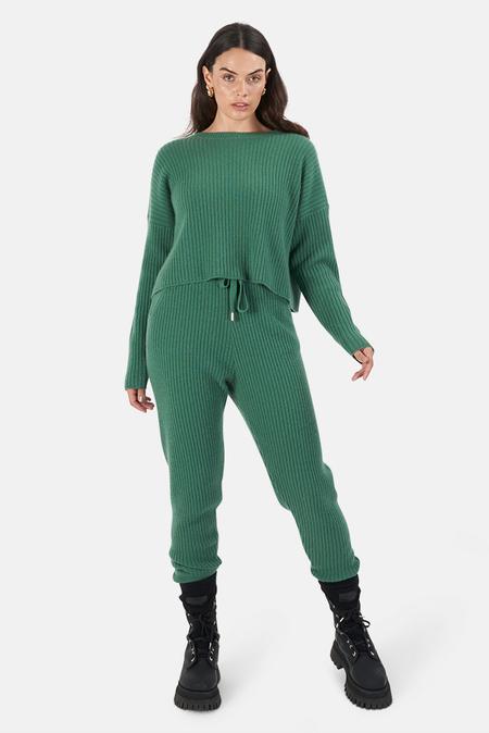 The Tile Club Florence Ribbed Bottom Pants - Green
