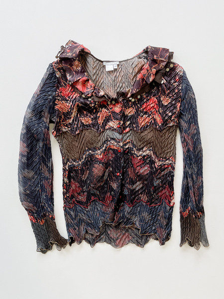 Vintage Pleated Ruffle Blouse - Flower Collage Print