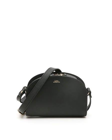 A.P.C. Demi Lune Leather Mini Bag - black