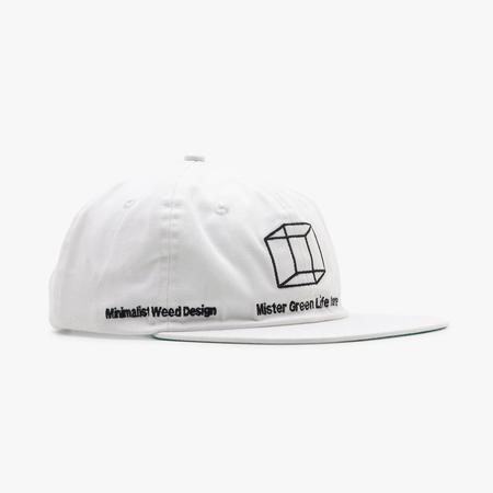 Mister Green Minimalist Weed Design (MWD) Shop Hat / White