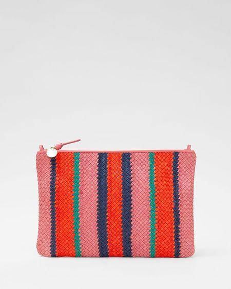 Clare V. Flat Clutch w/ Tabs - Petal Stripes