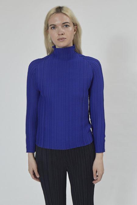 Issey Miyake Wooly Pleats Long Sleeve Top - Blue