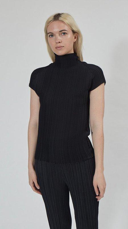Issey Miyake Wooly Pleats Short Sleeve Top - Black