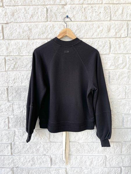 Lee Mathews Vince Organic Fleece Balloon Sleeve Sweater - black