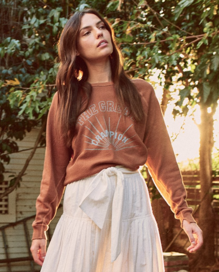 The College Sweatshirt with Champion Graphic - Rust