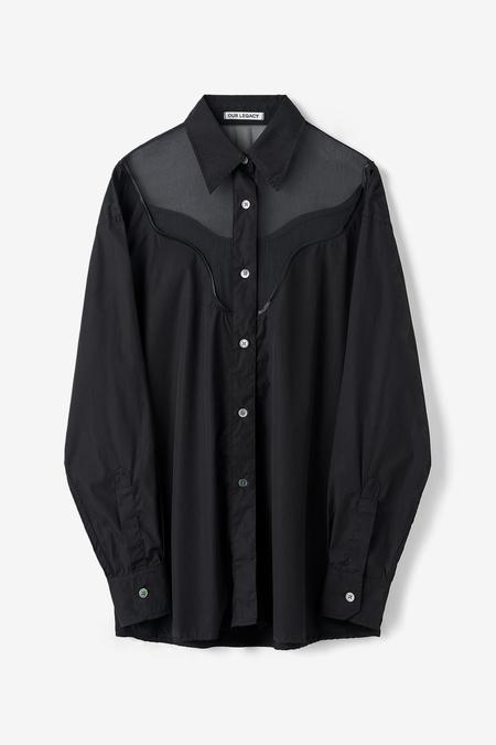 Our Legacy Lend Shirt Cut Lines - Black Poplin