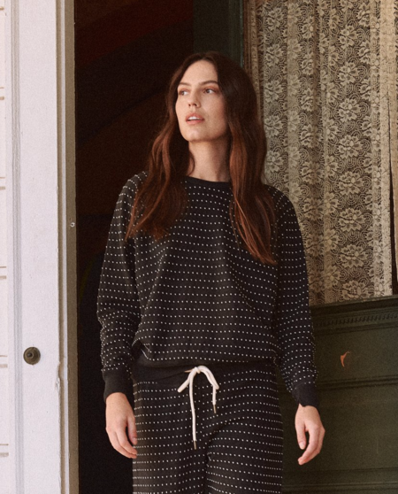 The Great. The Swiss Dot College Sweatshirt - Almost Black
