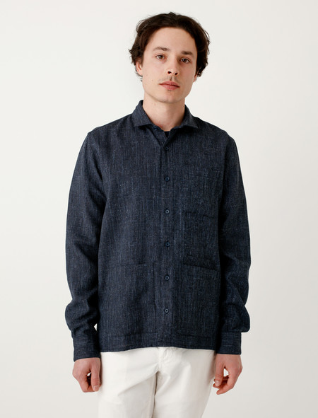 DDugoff Sol Four Pocket Shirt Navy Melange