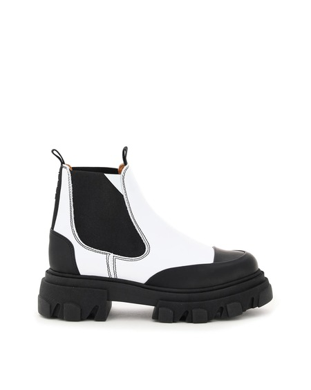 Ganni Leather Chelsea Boots - White