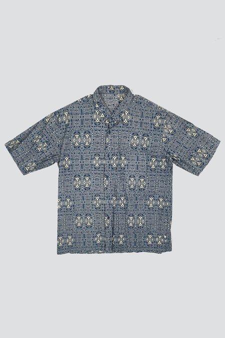 Vintage Cotton Ancient Island Pattern Button Up - Blue