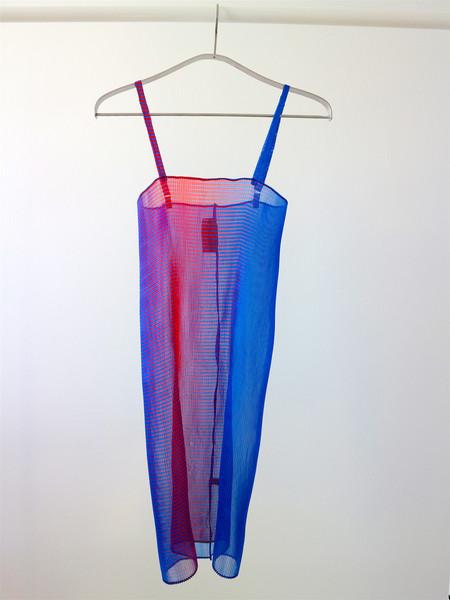 Kitty Joseph - Iridescent Stripe Crysal Pleated Organza Dress