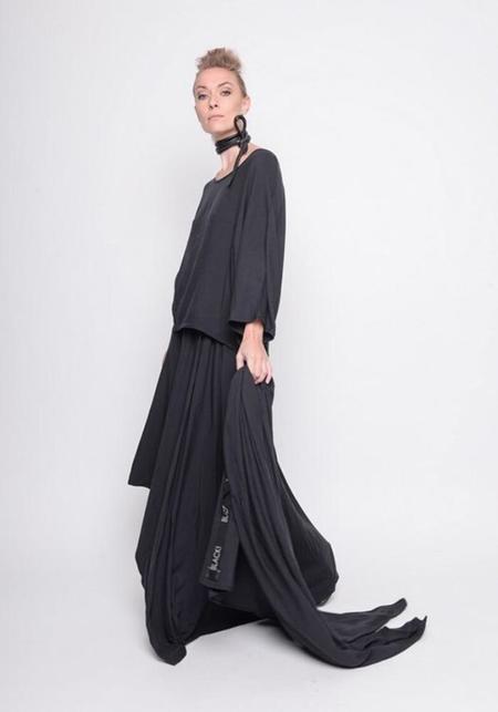 BLACK by K&M Asymmetric Maxi Skirt - black