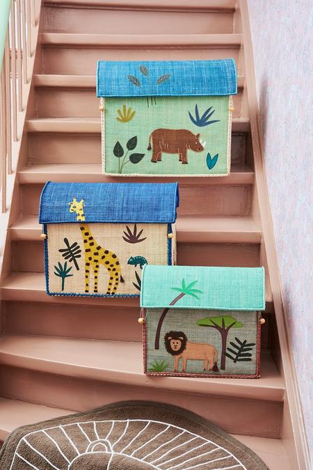 KIDS Rice Medium Toy Basket - Jungle Blue Design