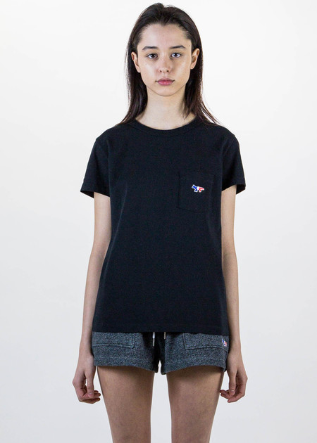 Maison Kitsune Black T-Shirt Tricolor Patch