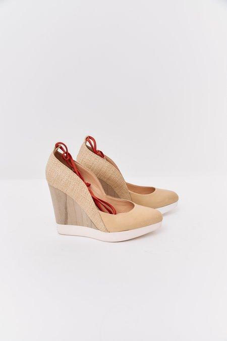 [Pre-Loved] Jil Sander Pointed Toe Wedges - Nude