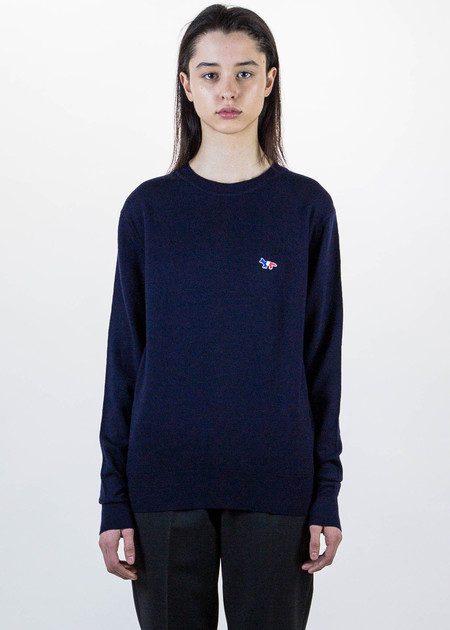 Maison Kitsune Navy Tricolor Fox Patch Knit Pullover