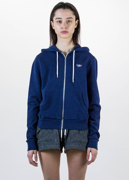 Maison Kitsune Navy Zip Hoodie Tricolor Fox Patch