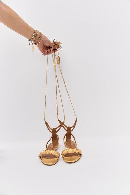 pre-loved Aquazzura Leather Sandals - Gold