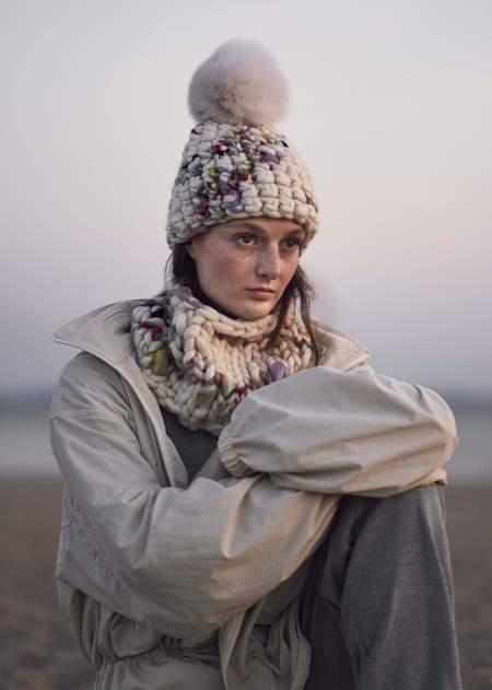 Mischa Lampert XL pom twombly beanie - Arctic white