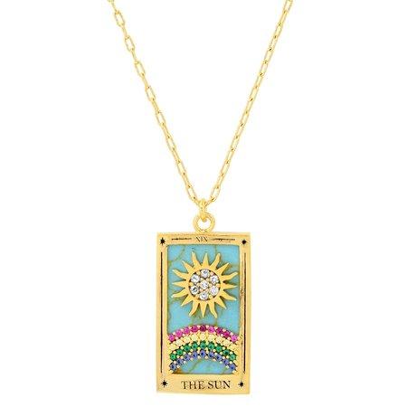 tai  The Sun Tarot Card Pendant nacklace - Vermeil