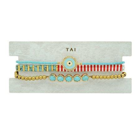 tai Set of 3 Evil Eye Bead Bracelet - Turquoise