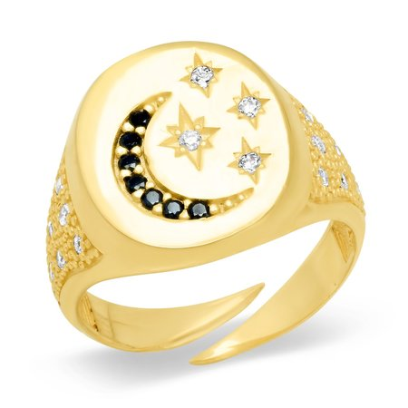 tai  Moon and Star Signet Ring - Gold Vermeil
