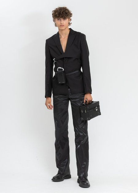 Heliot Emil Leather Belt With Small Box Bag - Black