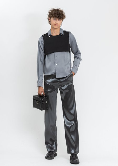 Heliot Emil Silk Rib Vested Shirt - Grey