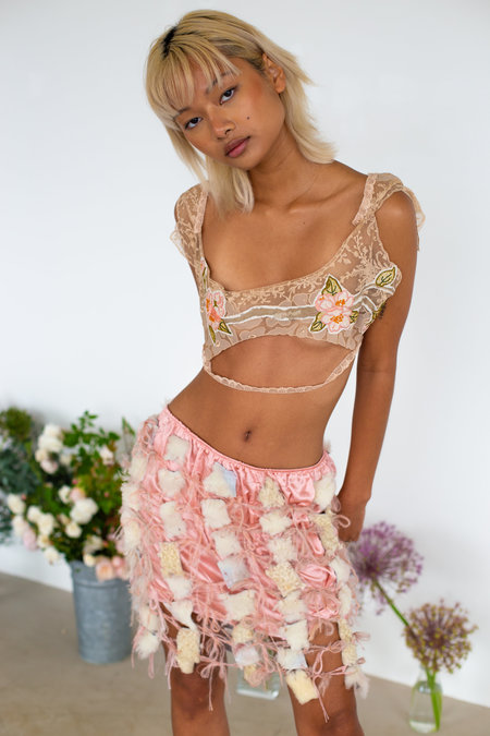 Sydney Pimbley Shearling Mini Skirt - Pink