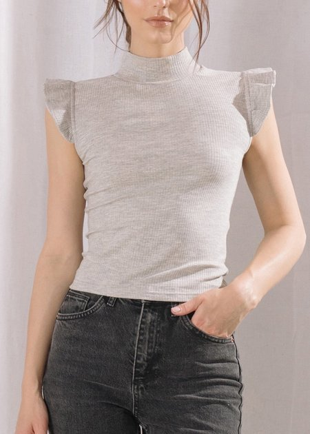 Mabel and Moss Verona Ruffle Sleeve Top - Grey