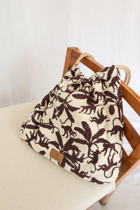 Nice Things Paloma Monkey Print Bag - Beige