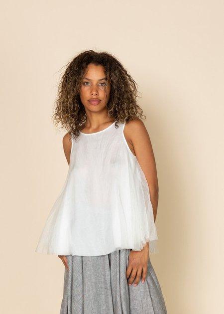 Louiza Babouryan Organza Swing Top - White