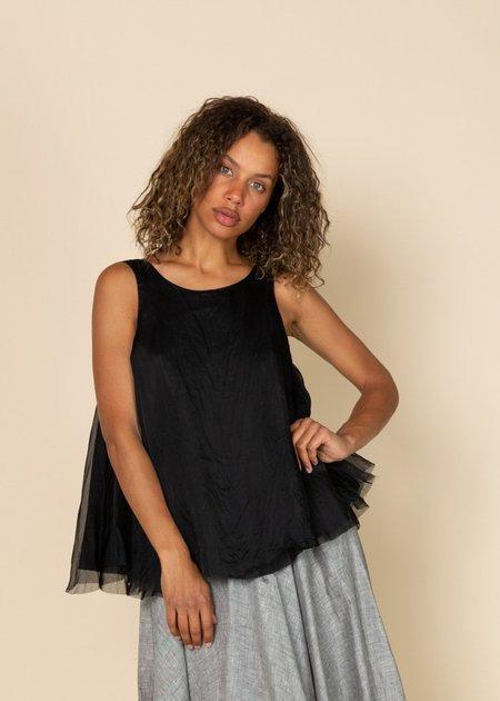 Louiza Babouryan Organza Swing Top - Black