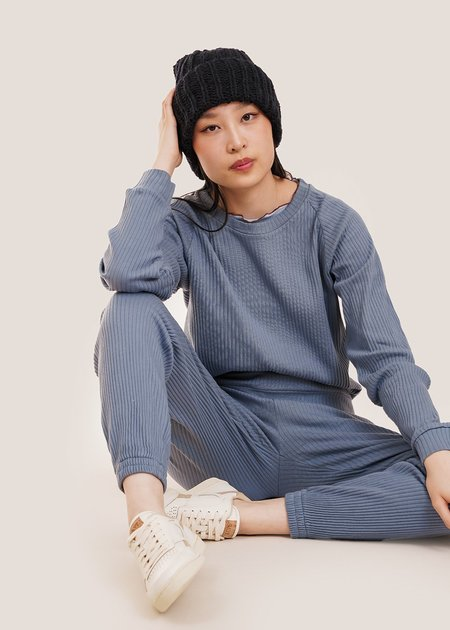Baserange Basic Rib Sweat Shirt - Baliu Blue