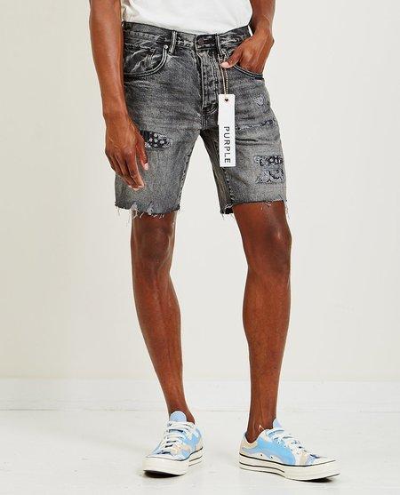 PURPLE P020 Mid Rise Bandana Patchwork Shorts - Charcoal