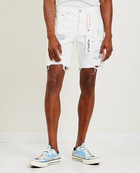 PURPLE P020 Mid Rise Bandana Patchwork denim shorts - White