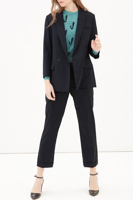 Kitsune Shawl Collar Jacket - Navy