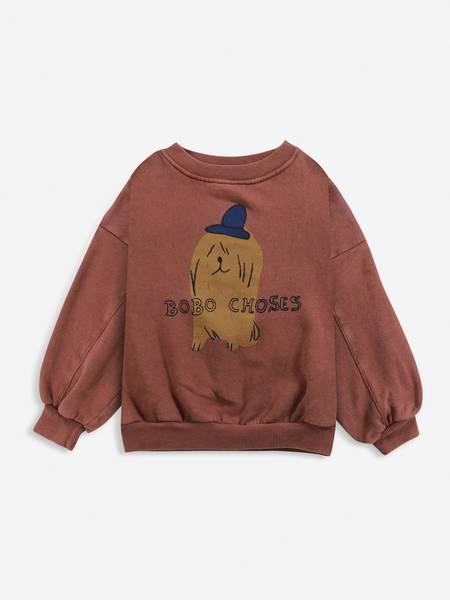 kids Bobo Choses Dog in the Hat Sweatshirt - brown