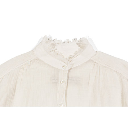 Raquel Allegra Shirred Blouse Top - Dirty White