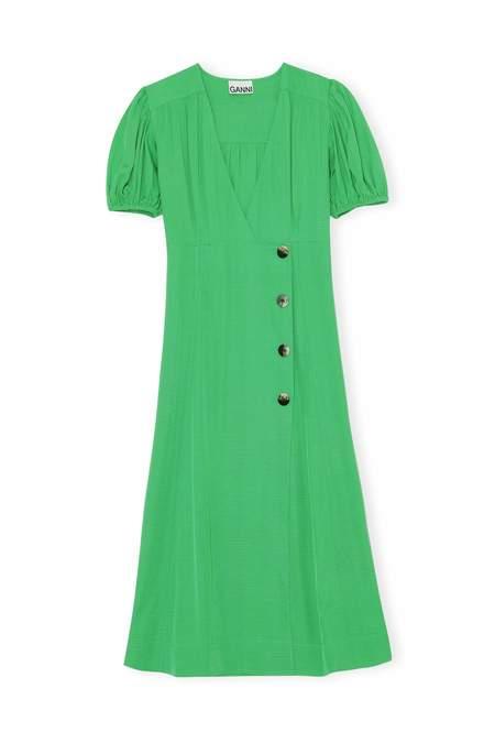 Ganni Ripstop Viscose Dress - Kelly Green