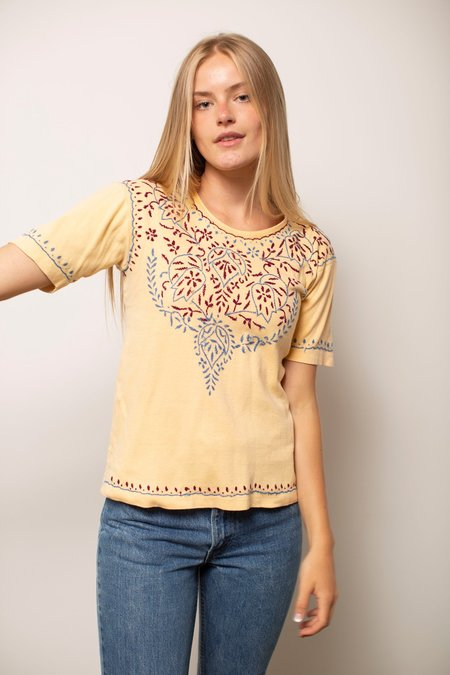 Vintage Short Sleeve Embroidered Top