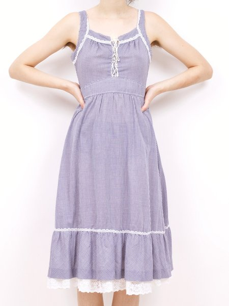 Vintage 70's apron dress - blue/white